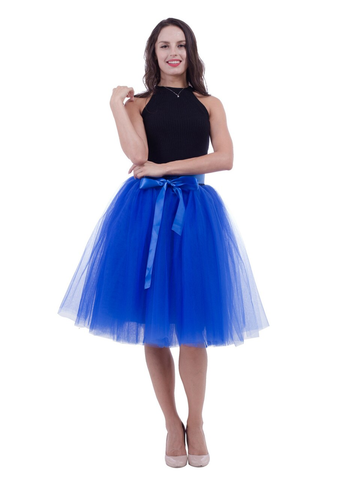 Royal Blue Gauze Belt Puff Tulle Skirt