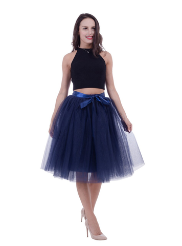 Navy Blue Gauze Belt Puff Tulle Skirt