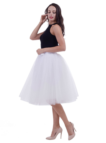 White Gauze Belt Puff Tulle Skirt