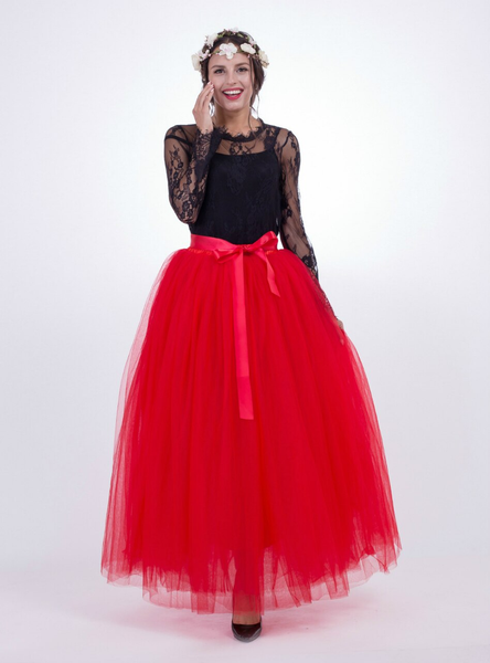 Red Gauze Mop Floor Long Skirt