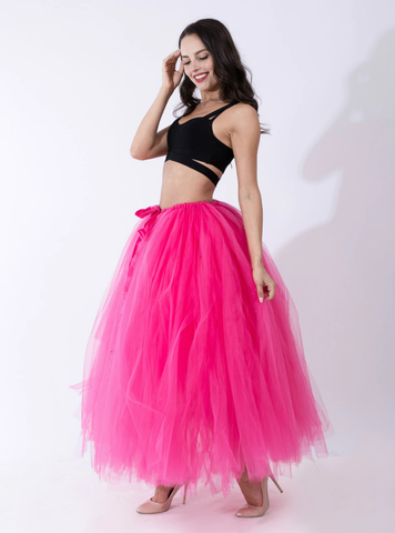 Fuchsia Tulle Long Tutu Skirt