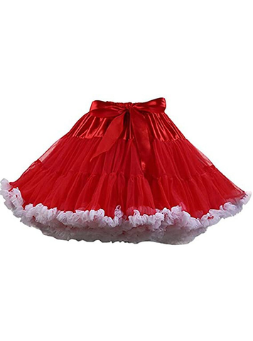 Red White Puffy Tulle Tutu Skirt