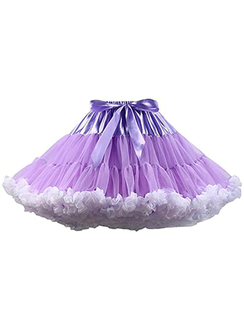Purple White Puffy Tulle Tutu Skirt