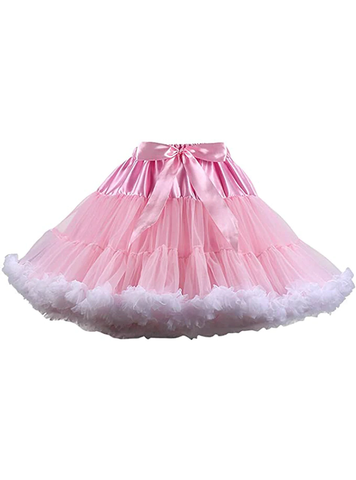 Pink White Puffy Tulle Tutu Skirt