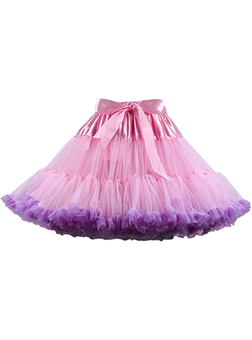 Pink Purple Puffy Tulle Tutu Skirt