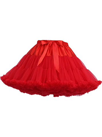 Red Puffy Tulle Tutu Skirt