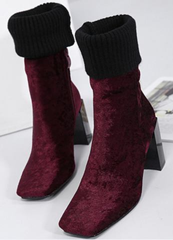 Stunning Velvet Heel Hight Women's Winter Boots