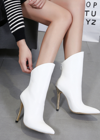 Trendy White Ankle Boots With Buckle Zipper Thin Metal Heels