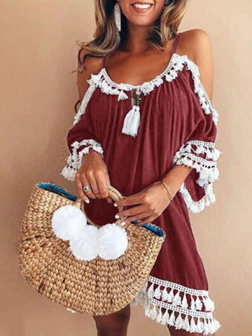 Halter Neck Tassels Short Sleeves Mini Dress