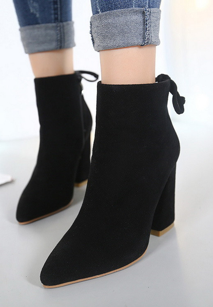 Cheap Ankle Boots Bandage Thick High-heeled Shoes For Ladies Martin Boots
