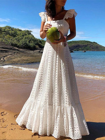 Bohemian White Lace Dress Boho Beach Chic Dresses