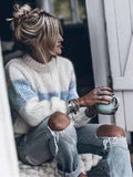 Unique Striped Long Sleeves Sweater Tops