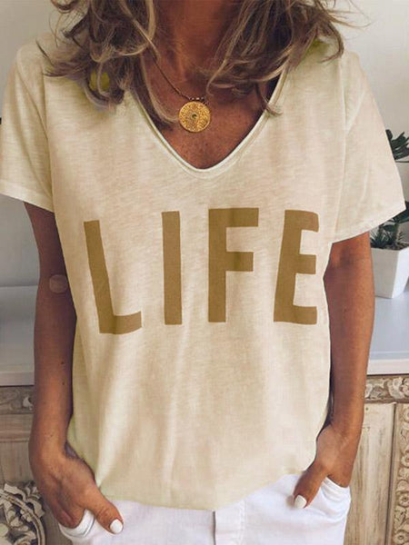 Simple Printed Loose Short Sleeves T-shirts