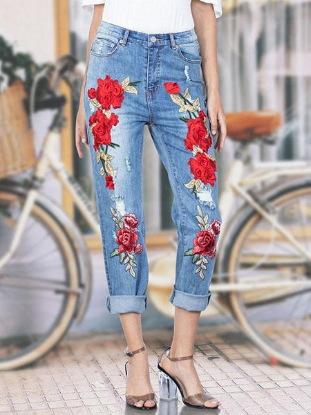 Modern Embroidered Jean Pants Bottoms