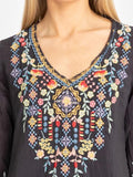Floral Embroidery Medium Sleeves Blouses