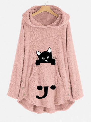Funny Cat Pocket Overhead Fleece Hoodies