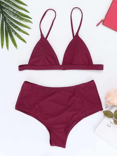 Backless Retro Spaghetti Adjustable Strap Triangle Solid Color Bikinis Swimsuits