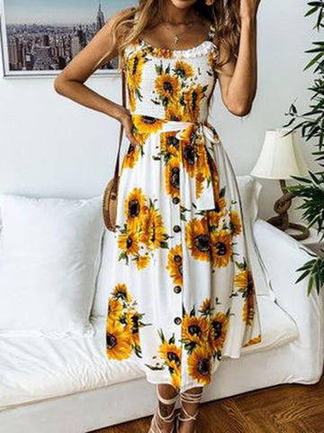 Fashion Floral Spaghetti-neck Midi Dress