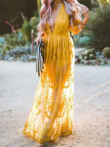 Beautiful Yellow Lace V-neck Split-side Cover-up Dress