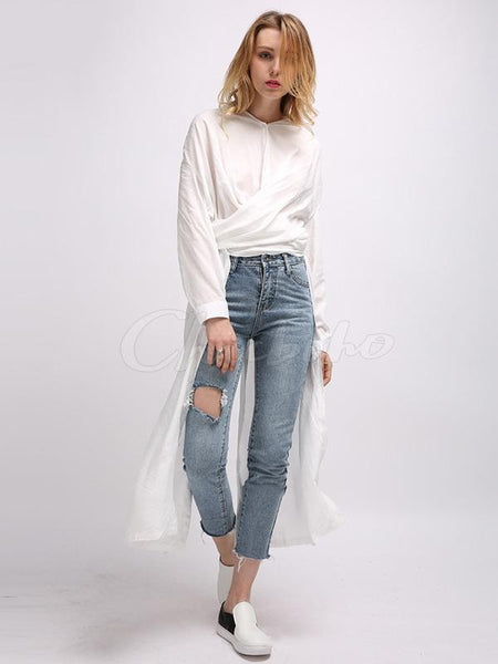Latest Long Sleeves Solid 2 Colors Blouses&shirts Tops