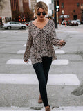 Graceful Chiffon Long Sleeves Floral Blouses&shirts Tops