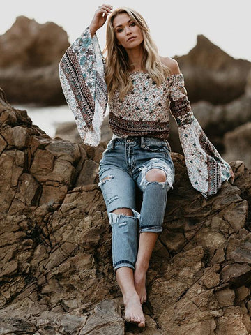 Popular Flared Sleeves Floral Loose Blouses&Shirts