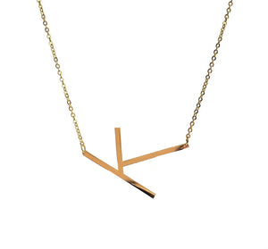 Gold Plated Slanted Initial Necklace