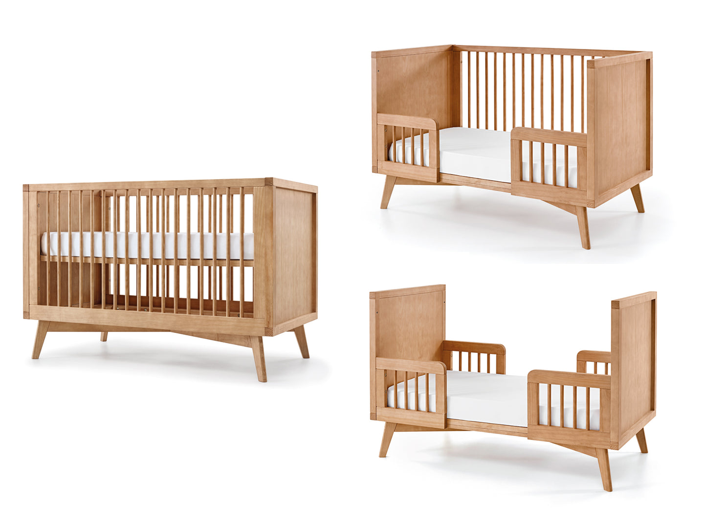 Mid-Century Retro Crib and Conversion Kit Set