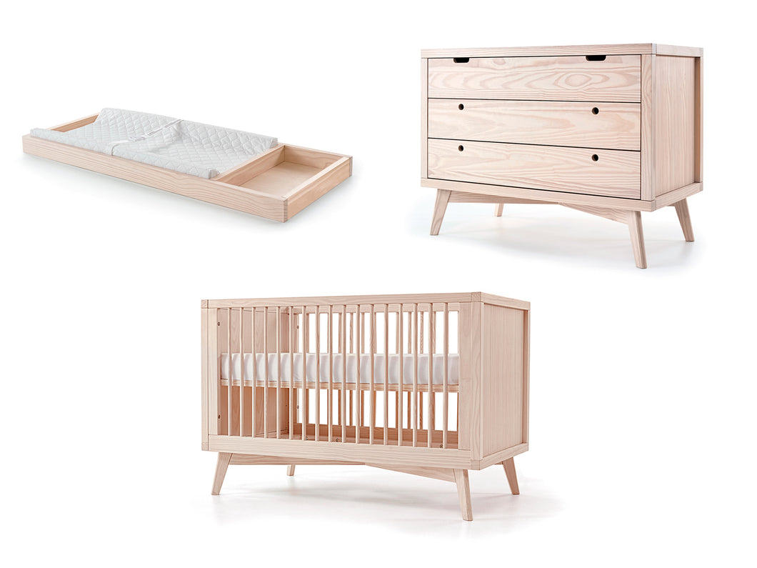 Mid-Century Retro Crib, Chest and Changing Tray