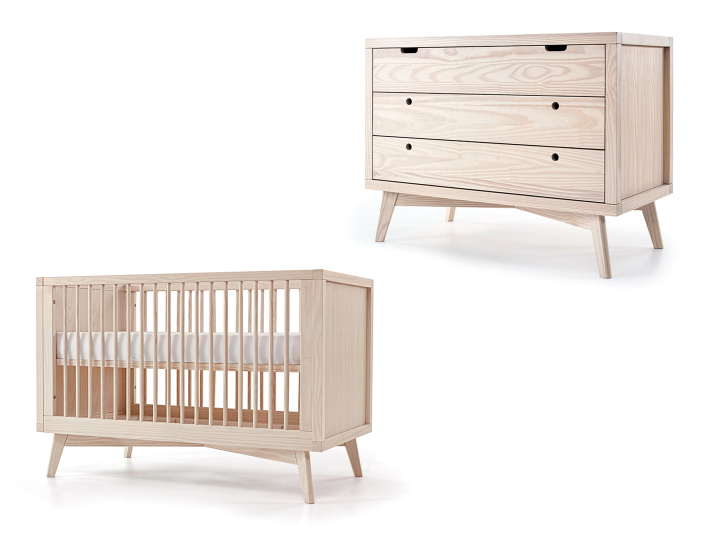 Mid-Century Retro Crib and Chest Set
