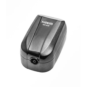 a single outlet aquarium air pump with a glossy black finish