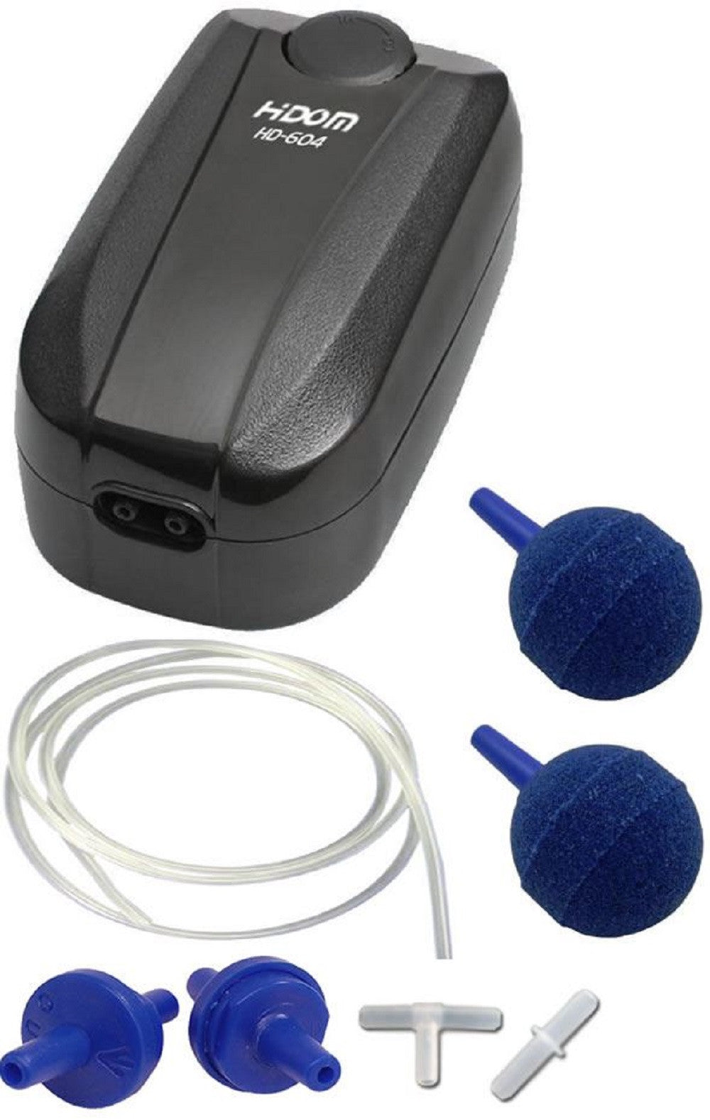 a glossy black twin outlet aquarium air pump with an adjustable dial and a selection of accessories