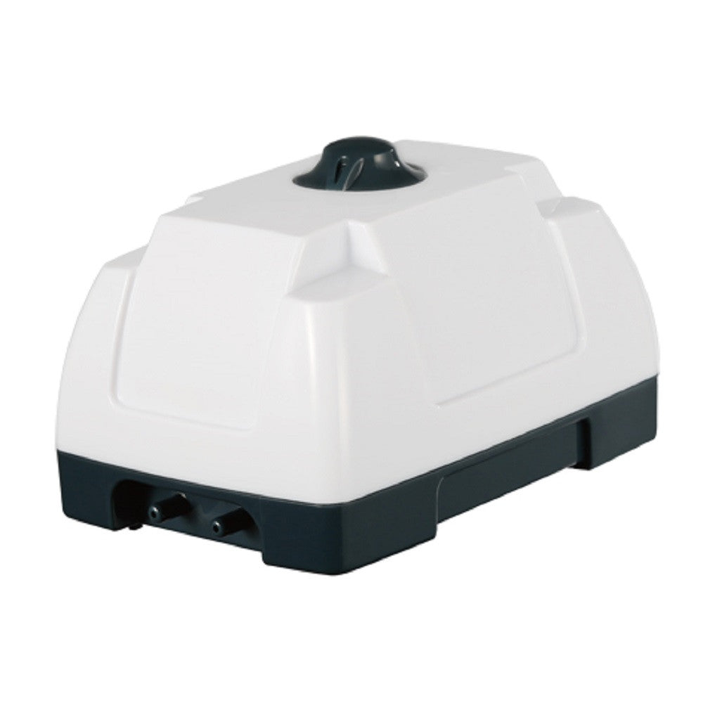 a white glossy aquarium air pump with in-built non return valves