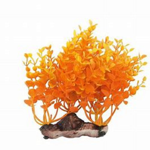 an artificial aquarium plant with thick orange foliage