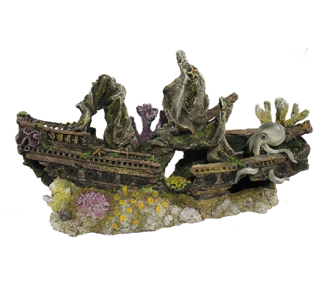 Fish Tank Aquarium Ornament Feature - Sunken Shipwreck and Octopus