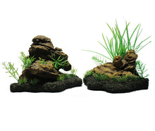 2 separate aquarium rock features with small grasses growing in and around the rocks