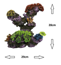 Fish Tank Aquarium Ornament Feature - Tall (28cm) Coral Reef Rock Outcrop and Polyps