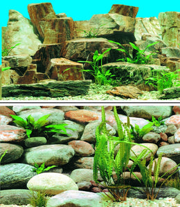 a double sided aquarium background with a backdrop of large rounded pebble stones on one side even larger stones mixed with plants on the other side