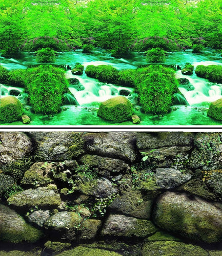 a double sided aquarium background with water rapids and a rock face