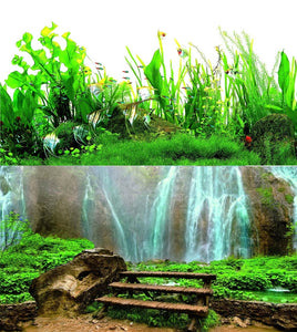 a double sided aquarium background with a waterfall and tropical plants