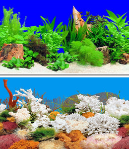 a double sided aquarium background with tree stumps, plants and colourful coral