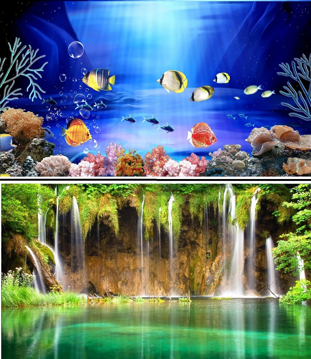 a double sided aquarium background with marine fish and a waterfall