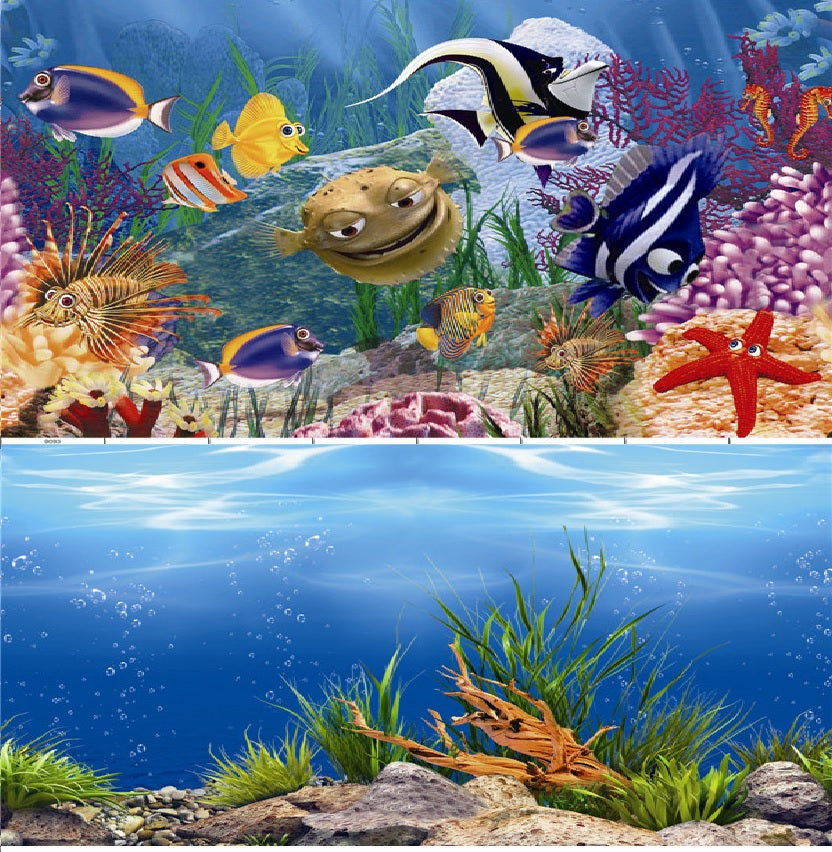 a double sided aquarium background featuring various large marine fish swimming near a coral reef on one side and a shallow sea-bed with scattered green plants on the other side