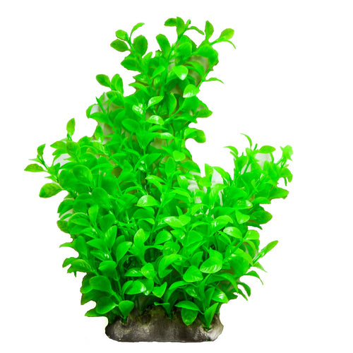 an artificial aquarium plant with glossy green leaves