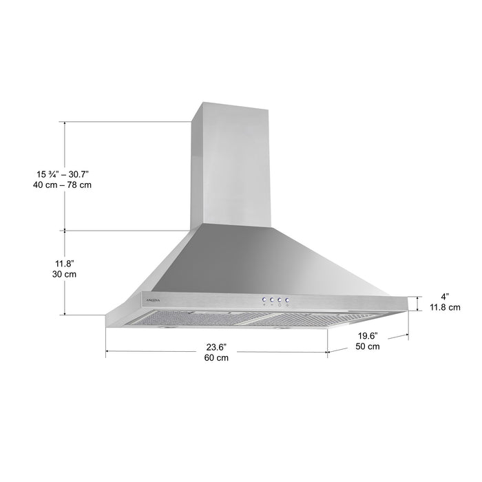 Ancona Wall Mounted Casetta 24 in. Range Hood