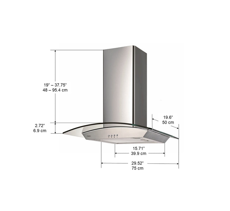 Wall Glass Canopy 30 in. Range Hood
