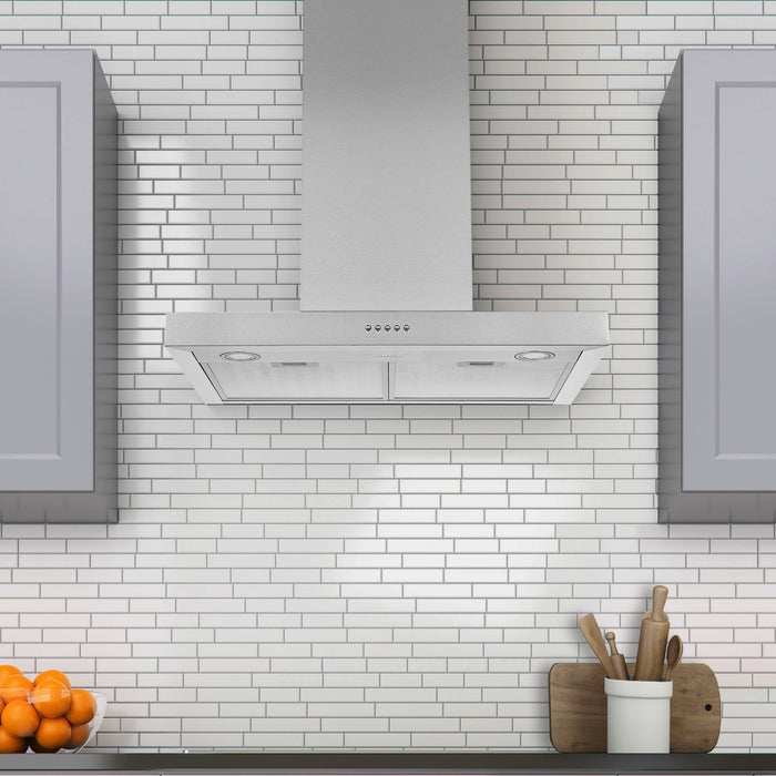 30 in. Convertible Wall-Mounted Rectangular Range Hood in Stainless Steel