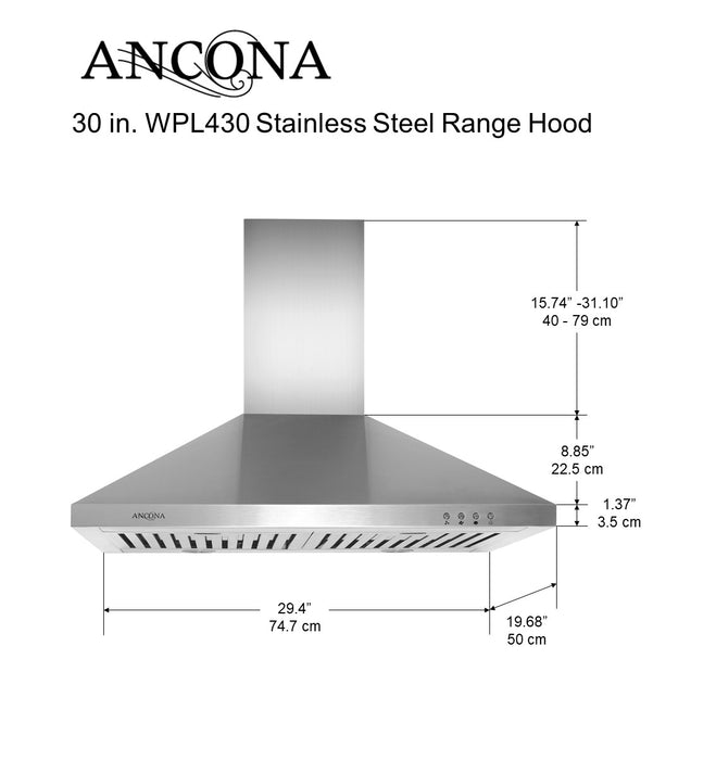 WPL430 30 in. Wall Mounted Pyramid Range Hood in Stainless Steel with LED lights