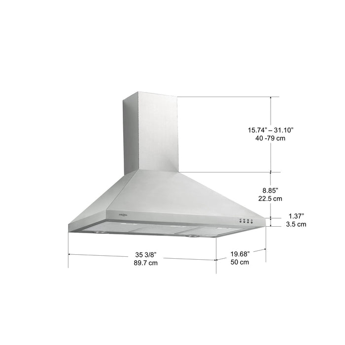 WPP436 36 in. Wall-Mounted Convertible Range Hood in Stainless Steel