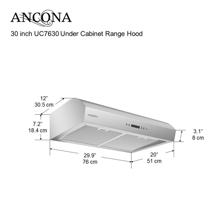 Ancona UC7630 Under Cabinet Range Hood with Night Light Feature 700 CFM 30 in.
